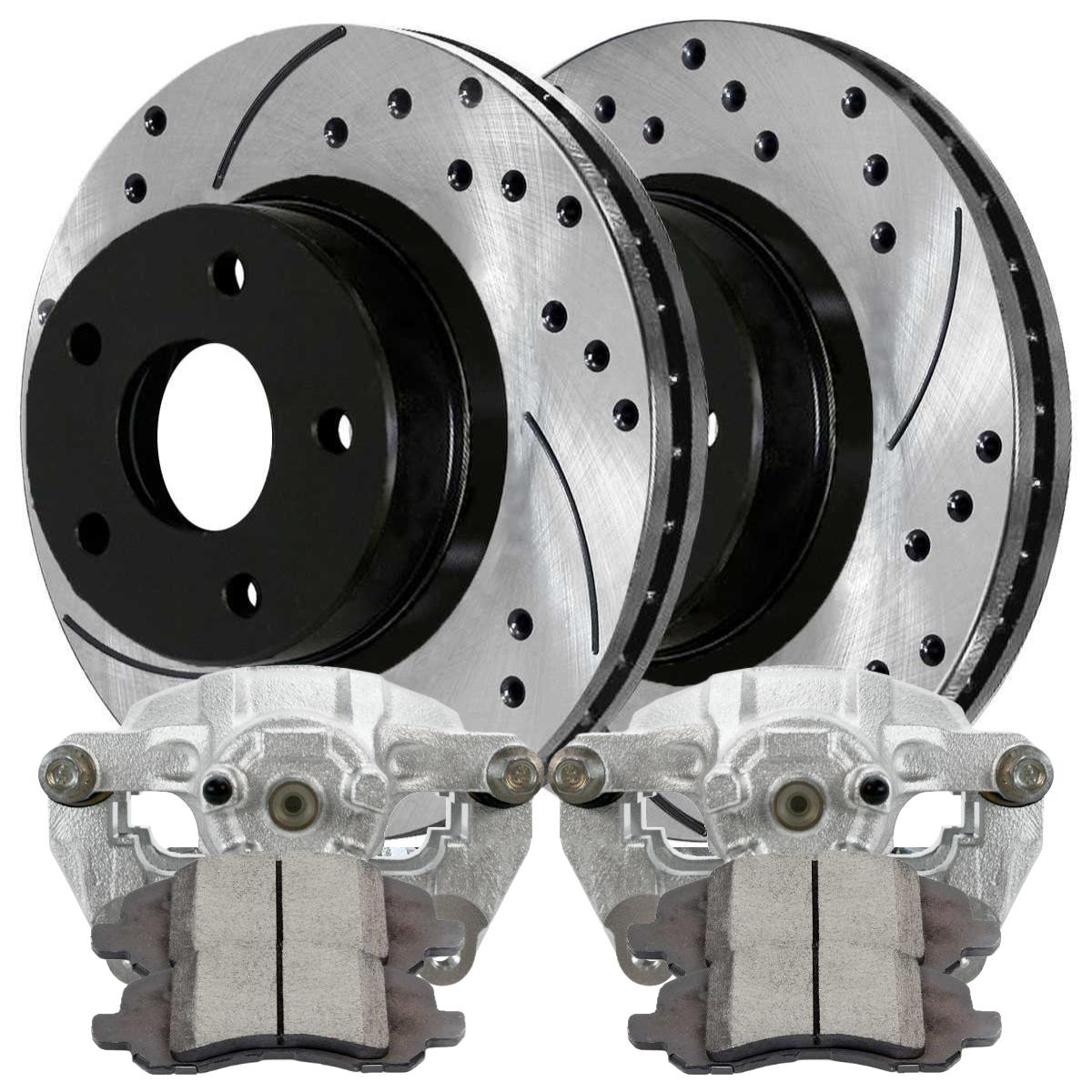 Performance Brake Pads and Performance Rotors Prime Choice Auto Parts BRKPKG651 Front Set of Brake Calipers