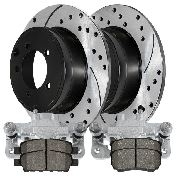 Rear Disc Brake Caliper Ceramic Brake Pad and Performance Drilled and Slotted Rotor Bundle 4 Wheel Disc 10.313 Inch Rotor Diameter - Part # BCPKG00179