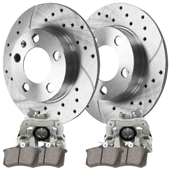 Rear Disc Brake Caliper Ceramic Brake Pad and Performance Drilled and Slotted Rotor Bundle Silver 232mm Rotor Diameter - Part # BCPKG00270