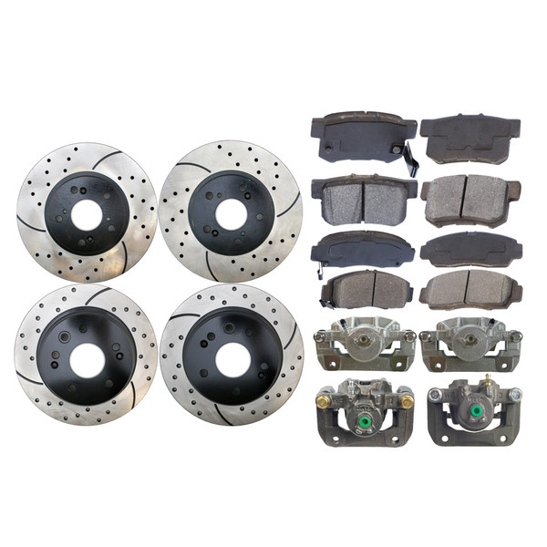 Package of Front/Rear New Brake Calipers Performance Rotors and Semi-Metallic Pads - Part # BCPKG00399