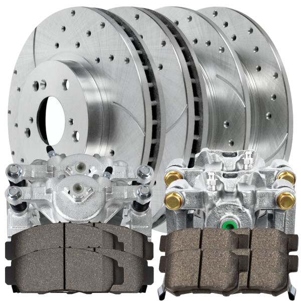 Package of Front/Rear New Brake Calipers Performance Silver Rotors and Ceramic Pads - Part # BCPKG00401