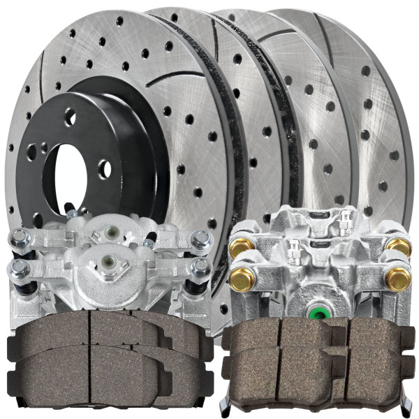 Package of Front/Rear New Brake Calipers Performance Rotors and Ceramic Pads - Part # BCPKG00410
