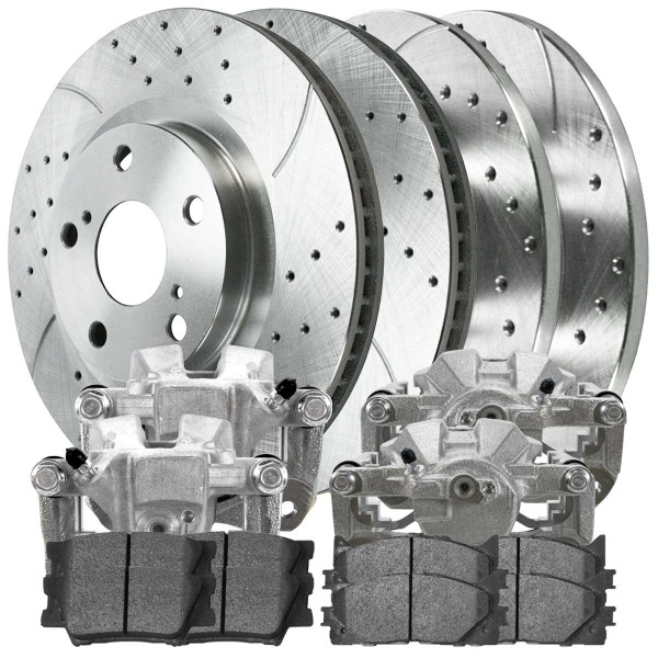 Front and Rear Disc Brake Caliper Semi Metallic Brake Pad and Performance Drilled and Slotted Rotor Bundle Silver 1 Piston Caliper - Part # BCPKG00540