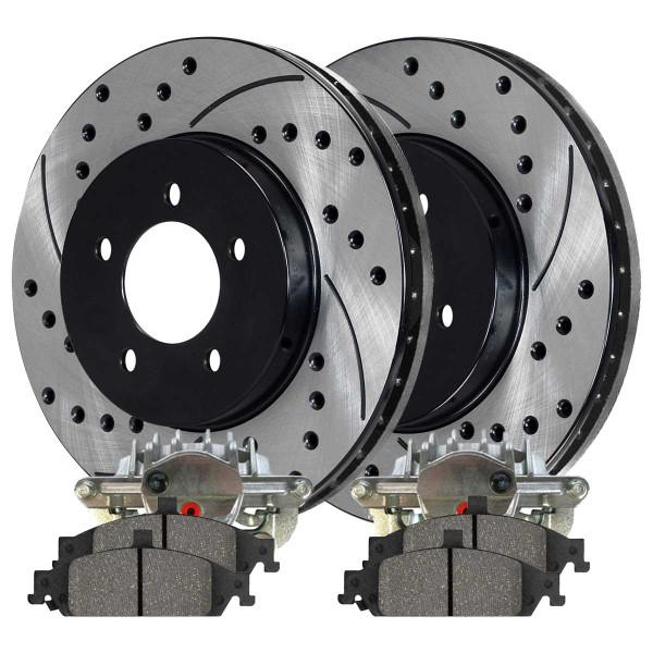 Front Disc Brake Caliper Semi Metallic Brake Pad and Performance Rotor Bundle 10.94 Inch Rotor Diameter 1 Piston Caliper Metal Piston - Part # BCPKG00659