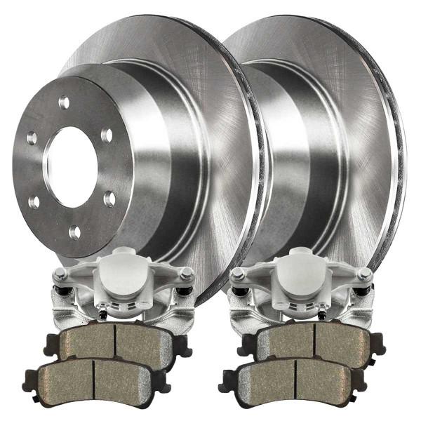 Rear Disc Brake Caliper Performance Brake Pad and Rotor Bundle 4 Wheel Disc 325mm Rotor Diameter 85mm Overall Height 1 Piston Caliper - Part # BRAKEPKG1053