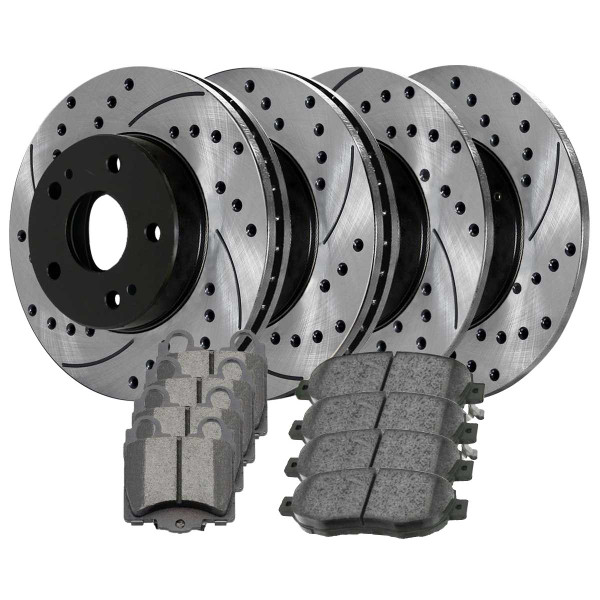Front and Rear Ceramic Brake Pad and Performance Rotor Bundle - Part # BRAKEPKG105