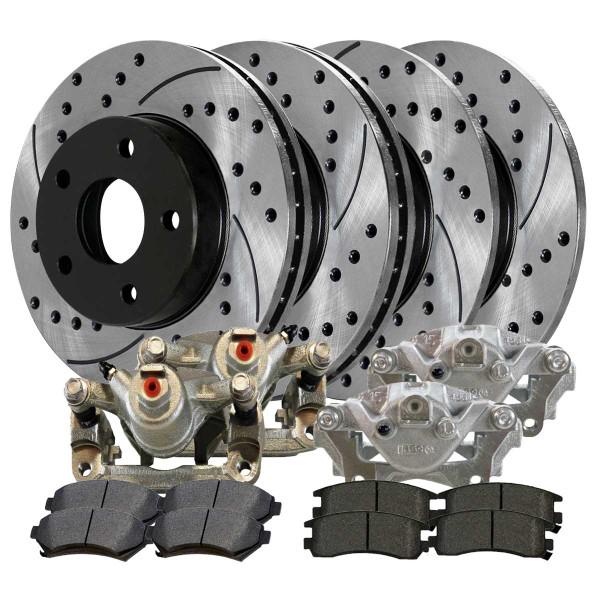 Front and Rear Disc Brake Caliper Ceramic Brake Pad and Performance Rotor Bundle Metal Piston 1 Piston Caliper - Part # BRAKEPKG1071
