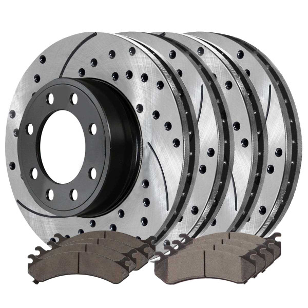Front and Rear Ceramic Brake Pad and Performance Rotor Bundle 330.4mm by 90mm Rear Rotor with 4.84 Inch Center Hole - Part # BRAKEPKG179
