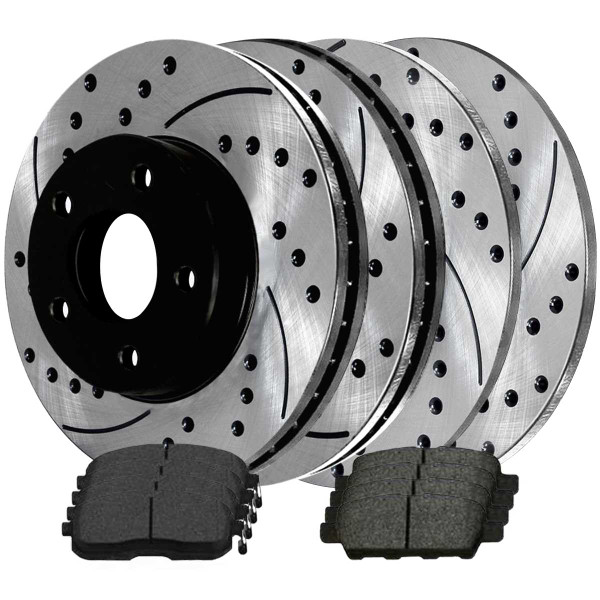 Front and Rear Ceramic Brake Pad and Performance Rotor Bundle - Part # BRAKEPKG261