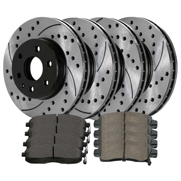 Front Rear Drilled Slotted Brake Rotors Ceramic Pads Kit for 07-12 GMC Acadia - Part # BRAKEPKG351