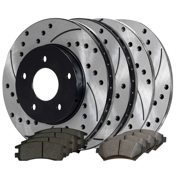 Front and Rear Ceramic Brake Pad and Performance Rotor Bundle 10.94 Inch Front Rotor Diameter - Part # BRAKEPKG470