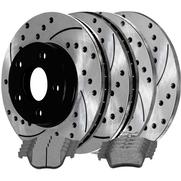 Front and Rear Ceramic Brake Pad and Performance Rotor Bundle - Part # BRAKEPKG482