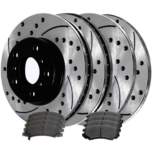 Front and Rear Semi Metallic Brake Pad and Performance Rotor Bundle - Part # BRAKEPKG689