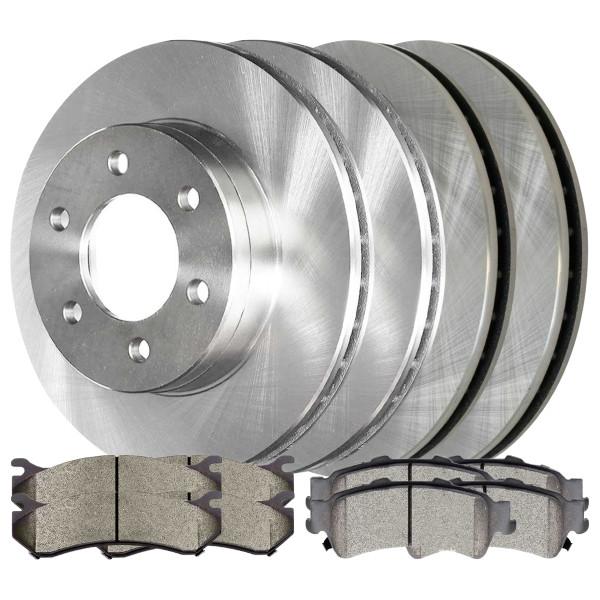 [Front & Rear Set] 4 Brake Rotors & 2 Sets Performance Ceramic Brake Pads - Part # BRAKEPKG797