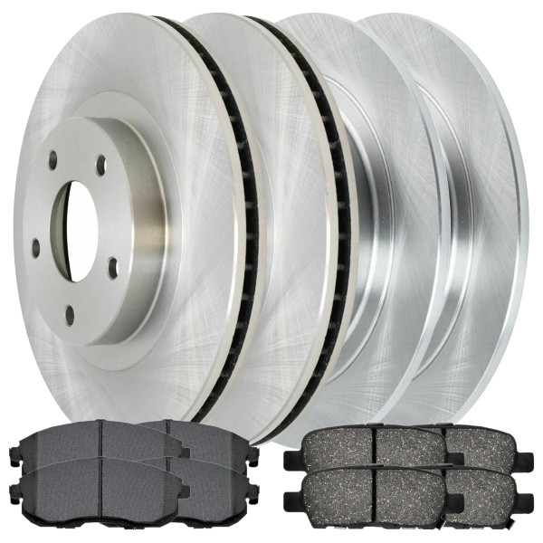 [Front & Rear Set] 4 Brake Rotors & 2 Sets Perforamnce Ceramic Brake Pads - Part # BRAKEPPK00046