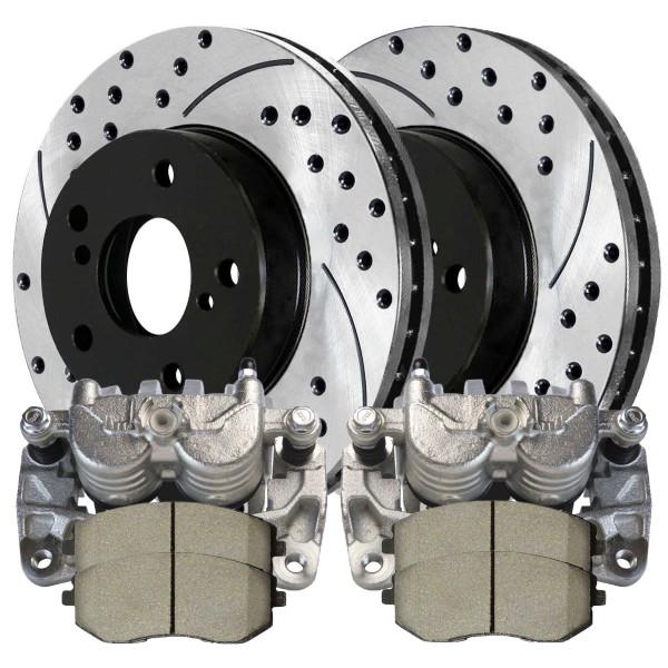 Front Set of Brake Calipers Performance Rotors & Brake Pads - Part # BRAKEPPK00264