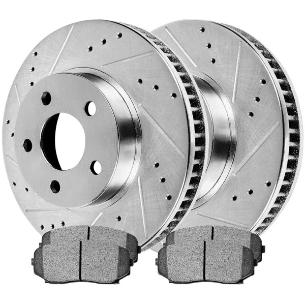 Front Performance Ceramic Brake Pad and Performance Drilled and Slotted Rotor Bundle - Part # BRKPKG002333