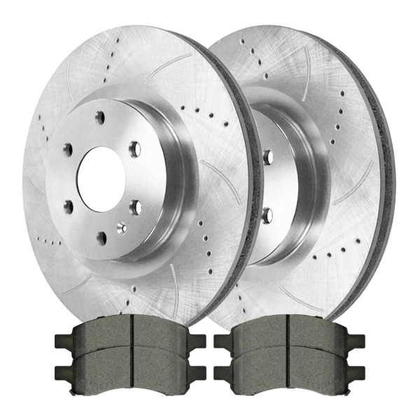 Front Performance Ceramic Brake Pad and Performance Drilled and Slotted Rotor Bundle - Part # BRKPKG002599