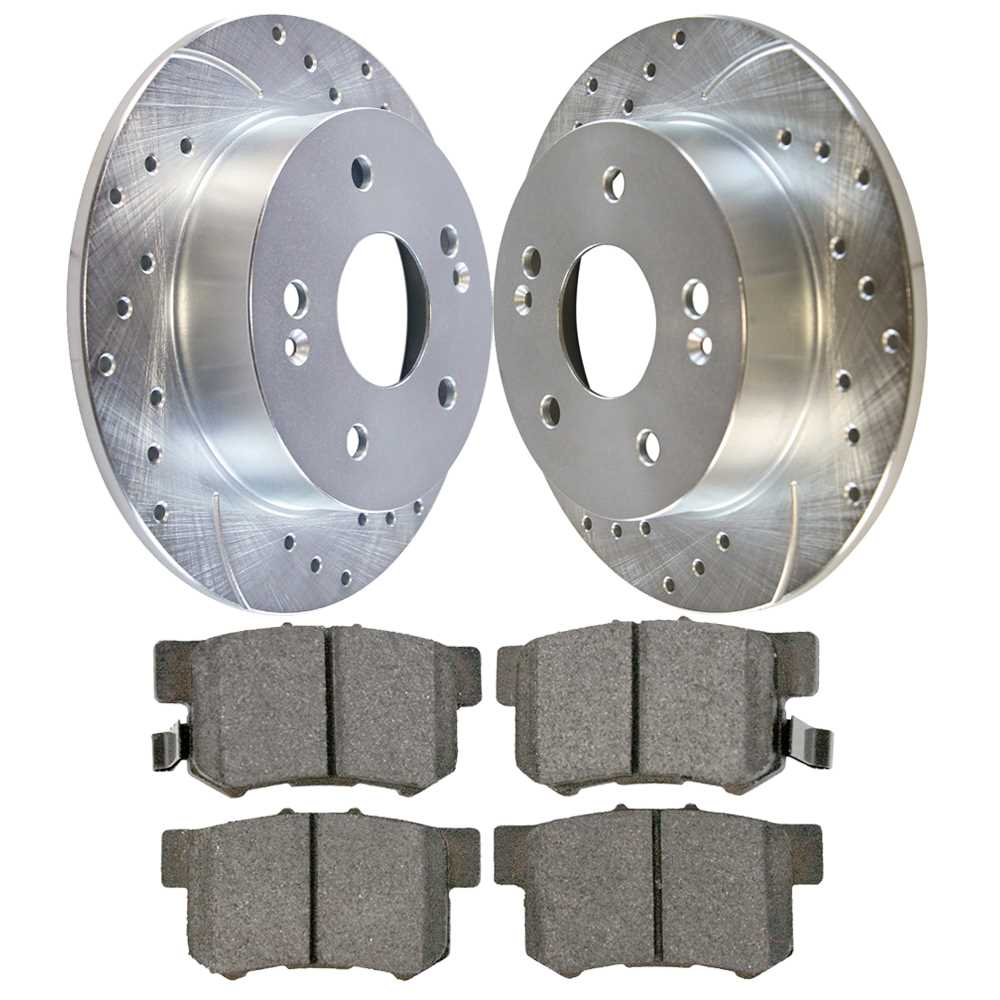 Auto Shack BRKPKG003449 Rear Drilled and Slotted Silver Brake Rotors and Ceramic Pads