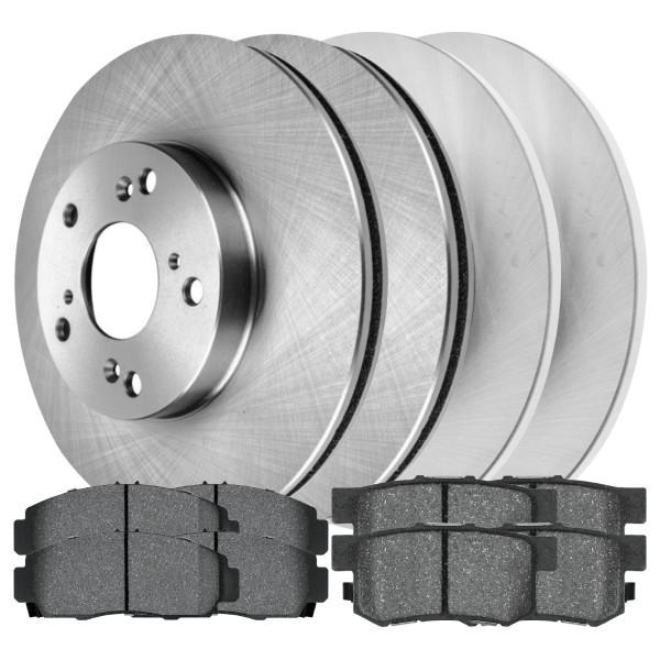 [Front & Rear Set] 4 Brake Rotors & 2 Sets Perforamnce Ceramic Brake Pads - Part # BRKPKG0097