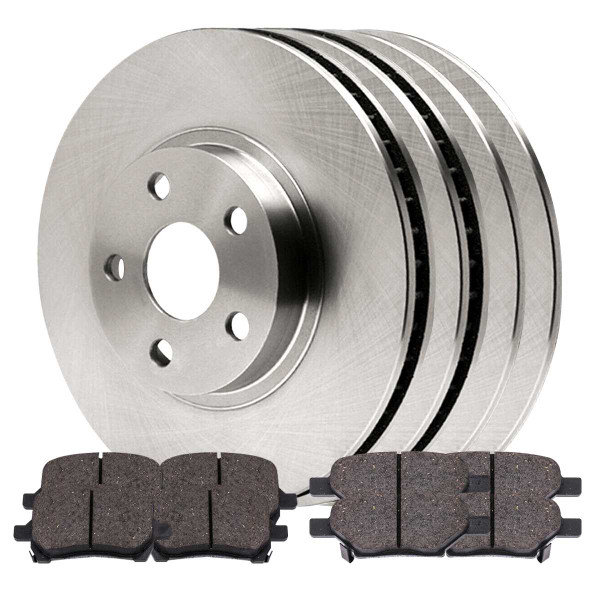 Front and Rear Performance Ceramic Brake Pad and Rotor Bundle 296mm Front Rotor Diameter - Part # BRKPKG0220
