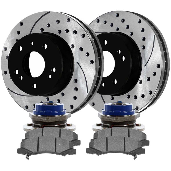 Front Wheel Hub Bearing Assembly Performance Brake Pad Performance Drilled and Slotted Rotor Bundle 4 Wheel ABS 11.92 Inch Rotor Diameter - Part # BRKPKG0650