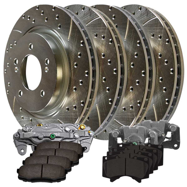 Front and Rear Disc Brake Caliper Ceramic Brake Pad and Performance Drilled and Slotted Rotor Bundle Silver Metal Piston - Part # BRKPKG100132