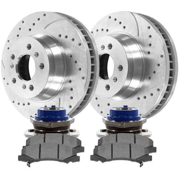 Front Wheel Hub Bearing Assembly Performance Brake Pad Performance Drilled and Slotted Rotor Bundle Silver 11.92 Inch Front Rotor Diameter - Part # BRKPKG10026
