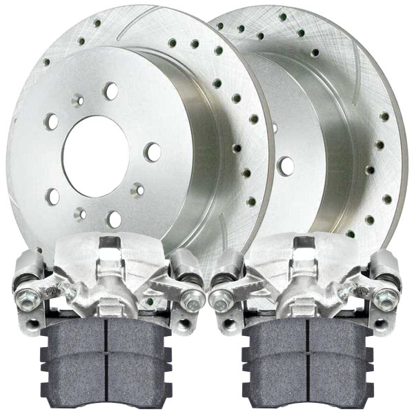 Rear Disc Brake Caliper Performance Brake Pad and Performance Drilled and Slotted Rotor Bundle Silver Metal Piston - Part # BRKPKG600062