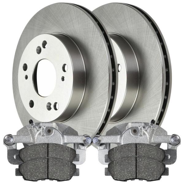 Front Brake Rotors Calipers and Ceramic Pads for 2006-2009 Honda Civic EX DX LX - Part # BRKPKG639