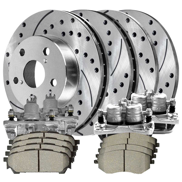 Front and Rear Disc Brake Caliper Ceramic Brake Pad and Performance Drilled and Slotted Rotor Bundle 4 Wheel Disc 2 Piston Caliper Metal Piston - Part # BRKPKG696
