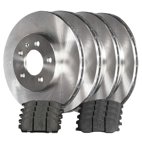 Front and Rear Performance Ceramic Brake Pad and Rotor Bundle - Part # BRKPKG717