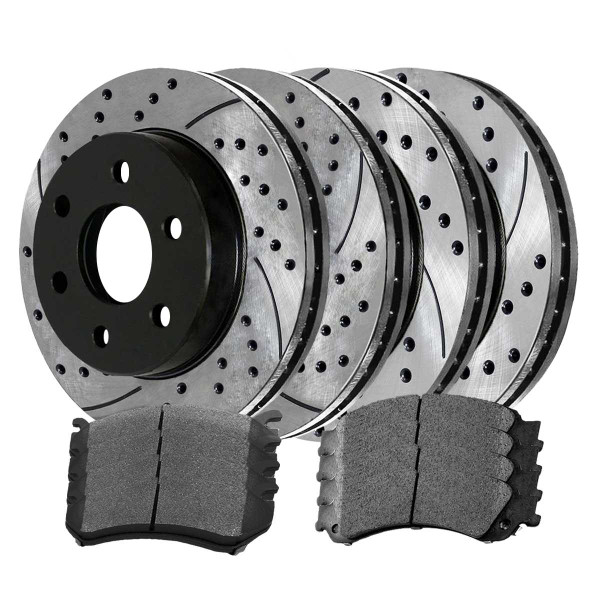 Front and Rear Ceramic Brake Pad and Performance Drilled and Slotted Rotor Bundle 6 Stud 330mm Rotor Diameter By 96mm Height Rear Rotors - Part # BRKPKG770
