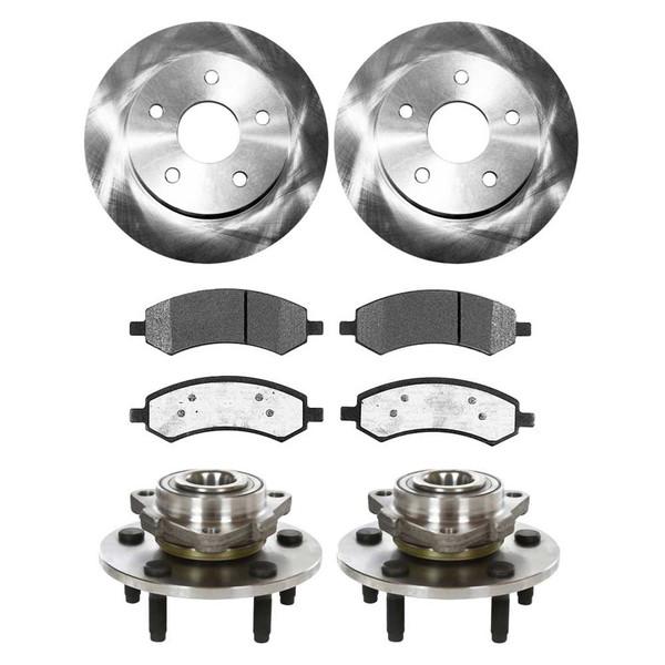 [Set] Front SetBrake Rotors & Ceramic Pads & Hub Bearings - Part # BRKPKG977
