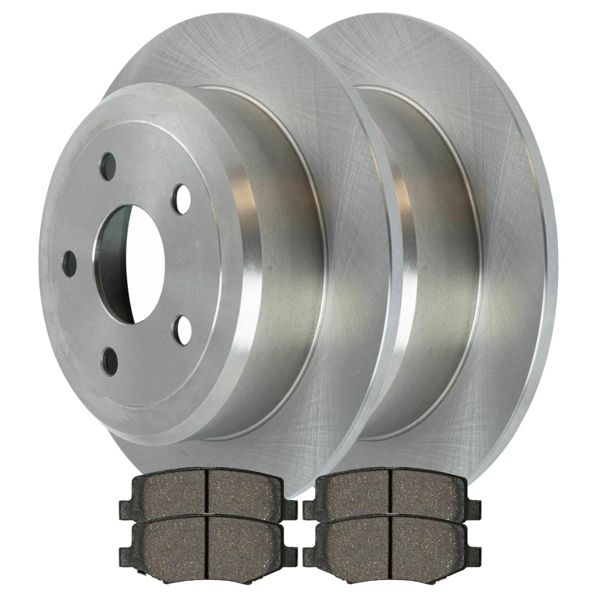 Prime Choice Auto Parts BRKPKG003579 Rear Drilled /& Slotted Rotors with Ceramic Pads Set