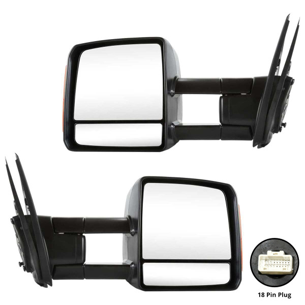 Power Heated Towing Signal Side View Mirror Pair - Part # KAPTO1320243PR