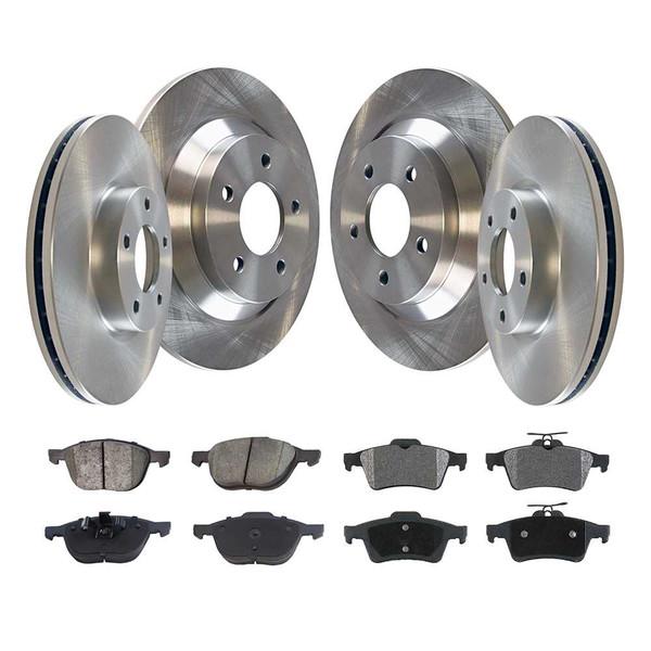 [Front & Rear Set] 4 Brake Rotors & 2 Sets Performance Ceramic Brake Pads - Part # PCD1044R41365