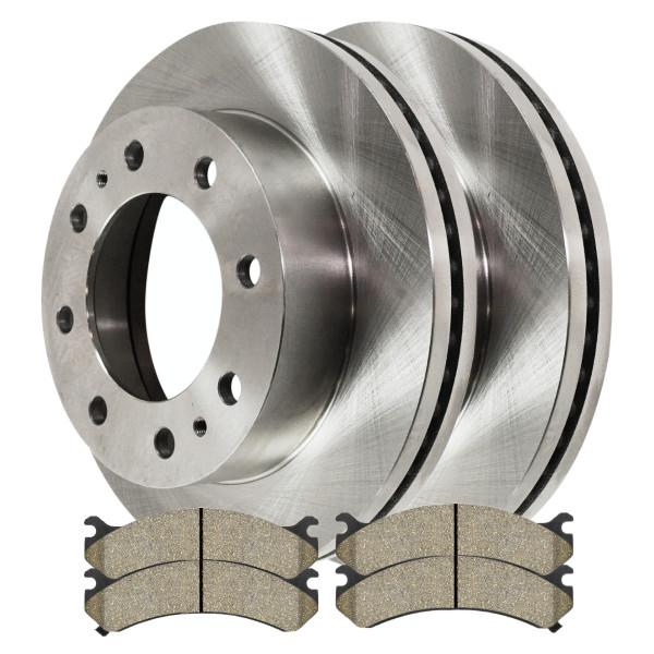 [Set] 2 Brake Rotors & 1 Set Performance Ceramic Brake Pads - Part # PCDR6507465074784