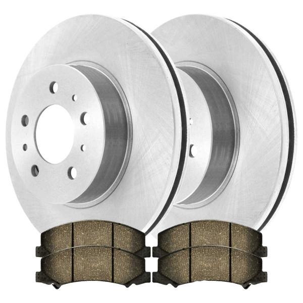 [Set] 2 Brake Rotors & 1 Set Performance Ceramic Brake Pads - Part # PCDR65128651281159