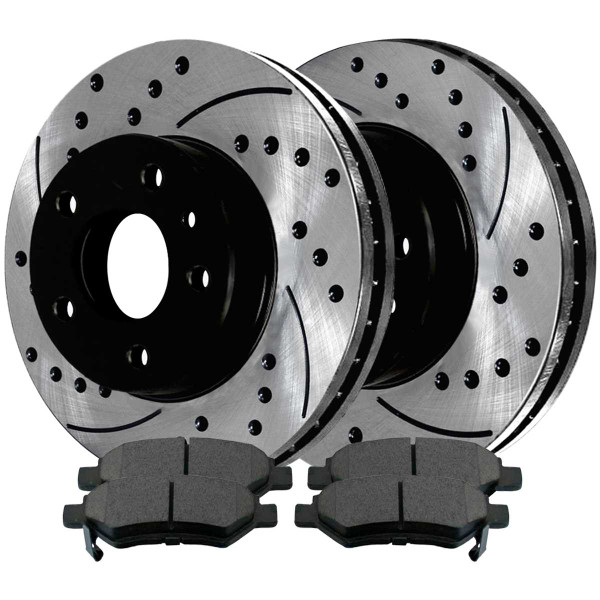 Rear Performance Ceramic Brake Pad and Performance Drilled and Slotted Rotor Bundle 12.4 Inch Rotor Diameter - Part # PERF133765173