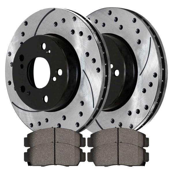 [Front Set] 2 Drilled & Slotted Performance Brake Rotors & 1 Set Ceramic Brake Pads - Part # PERF41259787