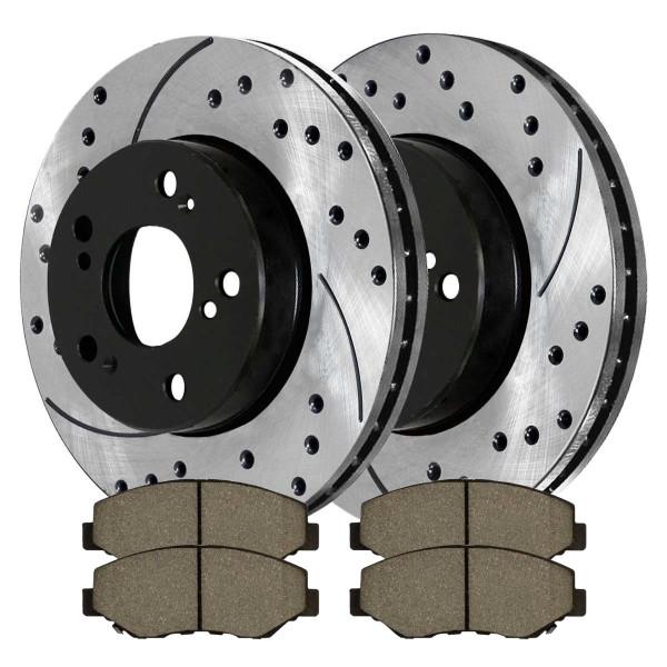 [Front Set] 2 Drilled & Slotted Performance Brake Rotors & 1 Set Ceramic Brake Pads - Part # PERF41259914