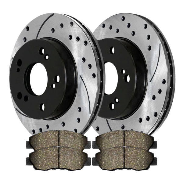 Front Performance Ceramic Brake Pad and Performance Drilled and Slotted Rotor Bundle - Part # PERF41313465A