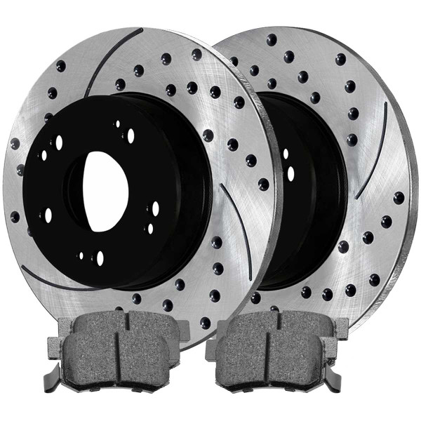 Rear Performance Ceramic Brake Pad and Performance Drilled and Slotted Rotor Bundle 4 Wheel Disc - Part # PERF41422537
