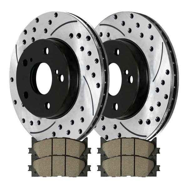 Front Performance Ceramic Brake Pad and Performance Drilled and Slotted Rotor Bundle - Part # PERF414361293