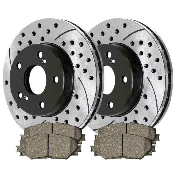 Front Performance Ceramic Brake Pad and Performance Drilled and Slotted Rotor Bundle - Part # PERF415071210