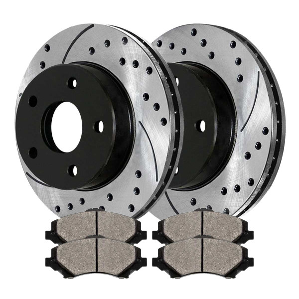 Front Performance Ceramic Brake Pad and Performance Drilled and Slotted Rotor Bundle 11.89 Inch Rotor Diameter - Part # PERF630531273