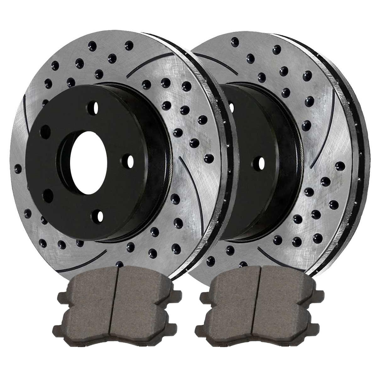 Prime Choice Auto Parts PERF641251047 Set of 2 Drilled and Slotted Brake Rotors and Performance Pads