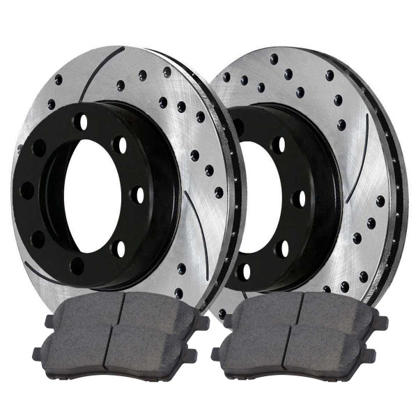 Rear Performance Ceramic Brake Pad and Performance Drilled and Slotted Rotor Bundle 4 Wheel Disc - Part # PERF64076757