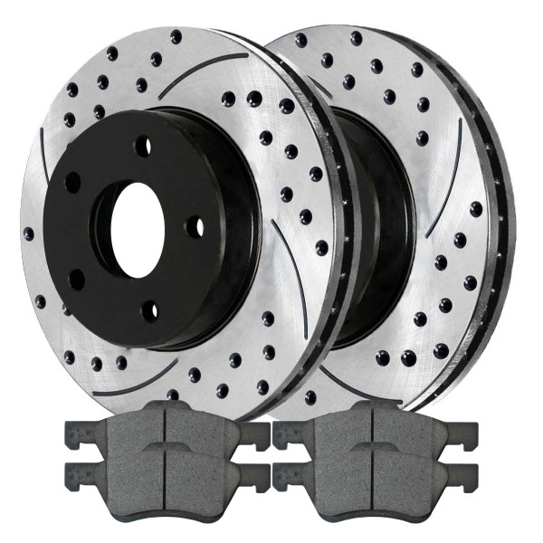 Front Performance Ceramic Brake Pad and Performance Drilled and Slotted Rotor Bundle - Part # PERF641251047